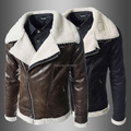 Nordic air force military style jackets for men pilot jacket with turn-down collar fur vintage bomber leather