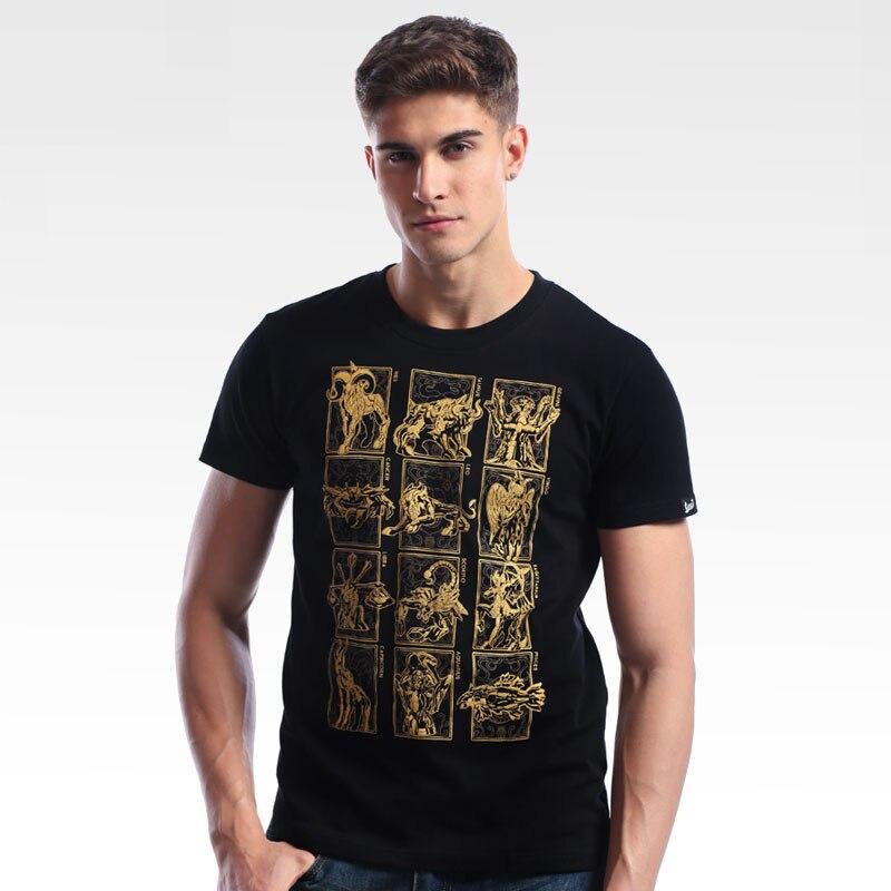 한정판 saint seiya gold cloth 디자인 티셔츠 고품질 black men boy tee shirt cool