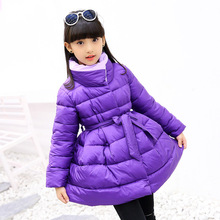 Girl cotton clothing 2018 new type winter girls cotton children's bow purple long thick cotton clothing Parkas girl