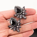 2016 New Women's Fashion Earrings Rhinestone Gray/Pink Glass Black Resin Sweet Metal with Gems Ear Stud Earrings For Women Girls