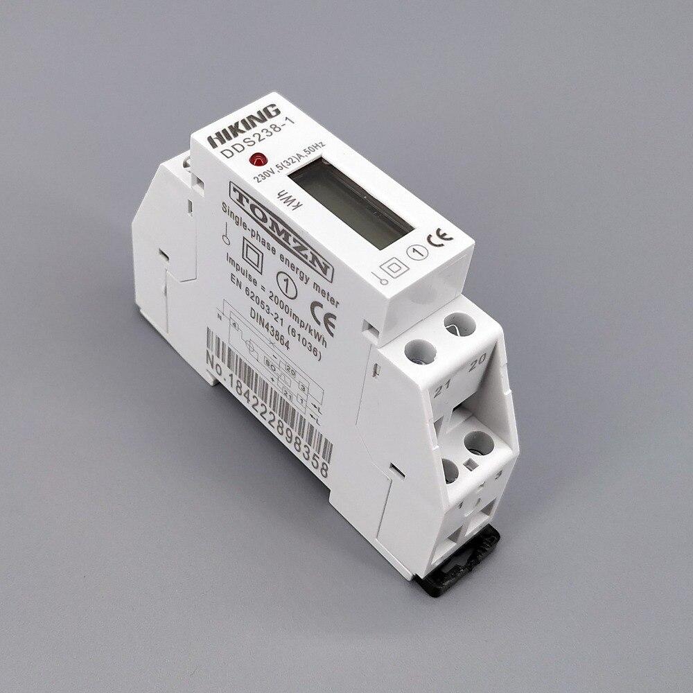 5 (32) A 230V 50HZ monophasé Din rail KWH Watt heure din-rail compteur d'énergie LCD
