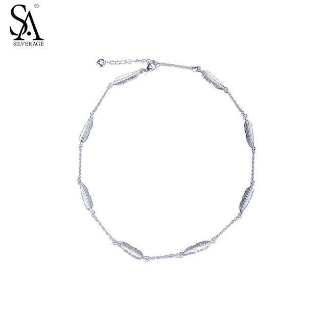 Sa Silverage 2017 New Design Real 925 Sterling Silver Feather Bracelet Fine Jewelry Women Two
