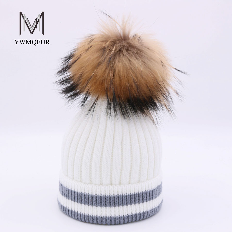 YWMQFUR Knitted Women Hat Fur Hats For Lady Beanies Cap Girl Fur Pom Poms With Wool Knitted Hat New Thick Female Cap gorros H112 the new children s cubs hat qiu dong with cartoon animals knitting wool cap and pile