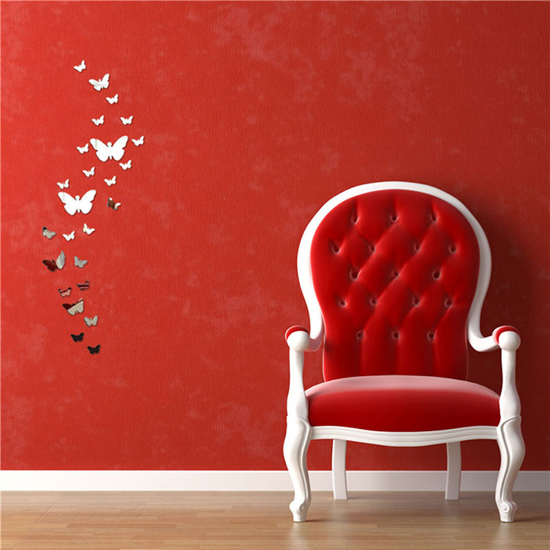Hot Sales Factory Price! Silver Bling Bling Acrylic 3D Butterfly Design Mirror Effect Wa ...