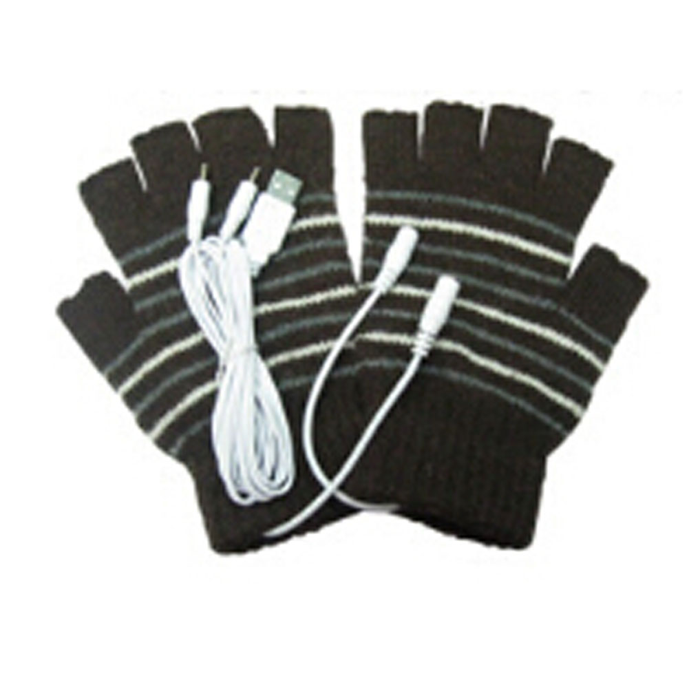 Unisex Winter Electric USB Heatting Color Hand Warming Fingerless Gloves +USB Cable For Men Women 2 Colors