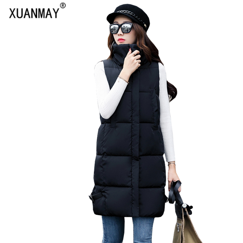2017 New winter female long section font b down b font cotton vest Fashion casual cotton