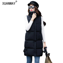 2017 New winter female long section down cotton vest Fashion casual cotton vest thickening warm large size loose cotton jacket