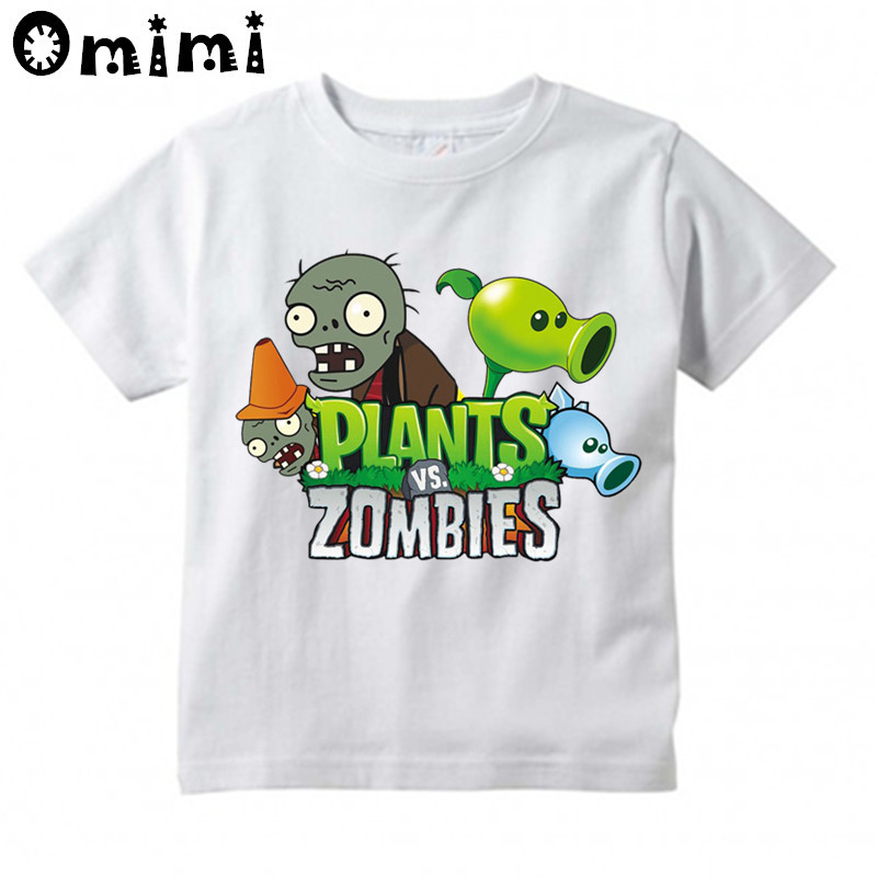 Children Game Plants Vs Zombies Design T-shirts Boys/Girls Summer White T shirts Kid Clothing Toddler Short Sleeve Tops grid hollow design t shirts in army green