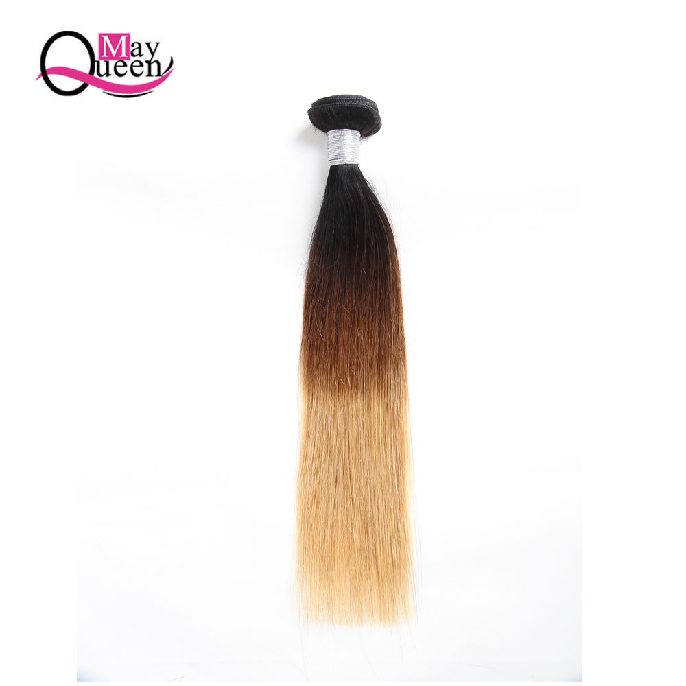 May Queen 1b/4/27 Brazilian Straight Hair Weave 1 Pc Ombre Hair Extensions 12-26inch Three Tone Remy Hair Can Buy 3 or 4 Bundles