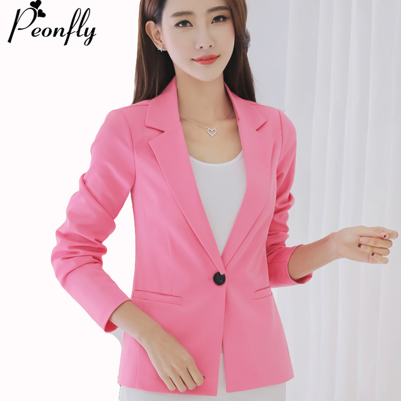PEONFLY Female Coats Blazer Spring Summer Long Sleeve One Button Jacket Women balck Jackets Office Blazer