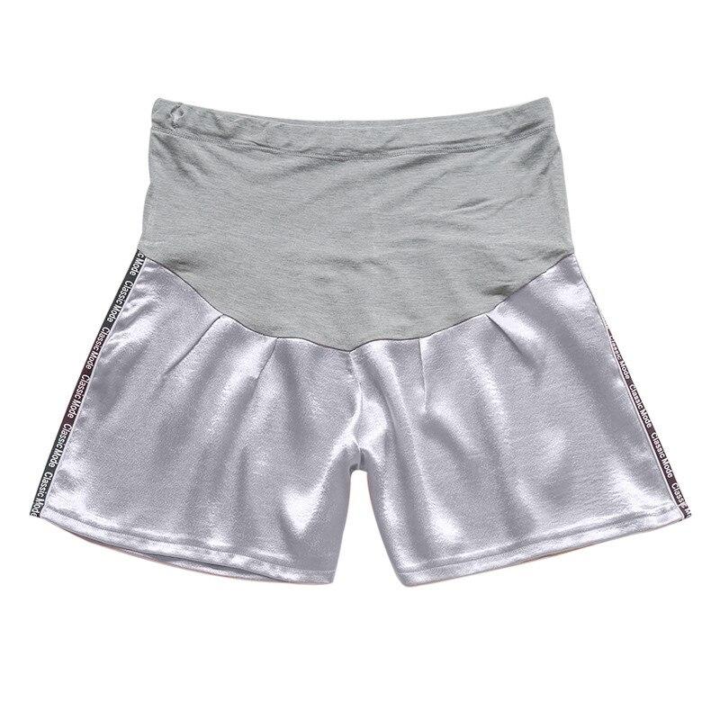 Женские короткие штаны для беременных с беременным шорты, повседневные однотонные штаны с высокой талией для беременных# p40US - Цвет: Серый