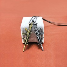 2018 pop Fashion New Counter Strike Gun Pendant Necklace For Men Vintage Gold Chain CS GO Choker Guns Male Jewelry Gift