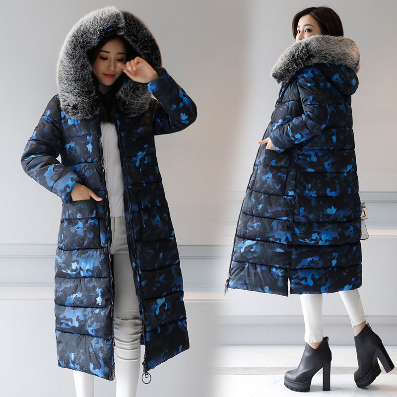2017 Women Winter Long Jacket Large Fur Collar Fashion Print Parkas Thick Warm Cotton Padded Jacket Snow Wear Outwear snow wear 2017 high quality winter women jacket cotton coats fur collar hooded parkas fashion long thick femme outwear cm1346