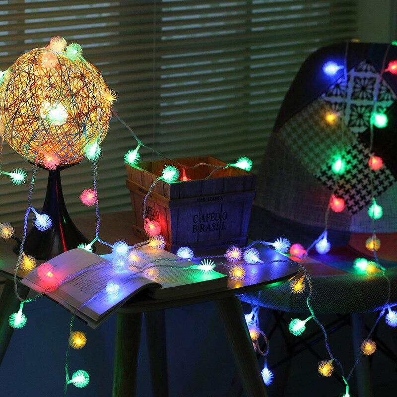 LED Puffer Ball String Lights Battery Box / USB 5V /220V Festival Christmas Lights Outdoor Indoor Decoration Lamp