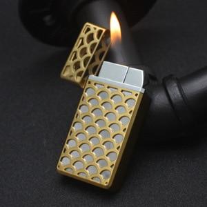 Image 3 - Hollow Free Fire Dual Fire Jet Lighter Gas 1300 C Butane Gadgets Torch Turbo Lighter Windproof Metal Cigar Pipe Lighter  For Man