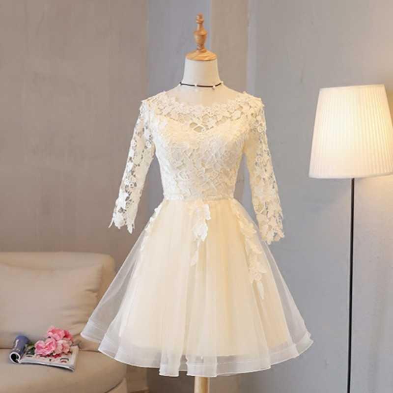 9168b9ca81c ... Короткие кружевные платья для выпускного вечера с длинным рукавом 8  класс выпускные вечерние платья Вечерние Короткие