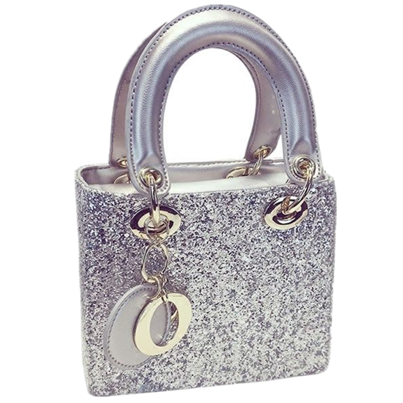 ФОТО 2017 summer new European and American fashion simple and elegant fashion sequined  ladies handbags silver party prom evening bag