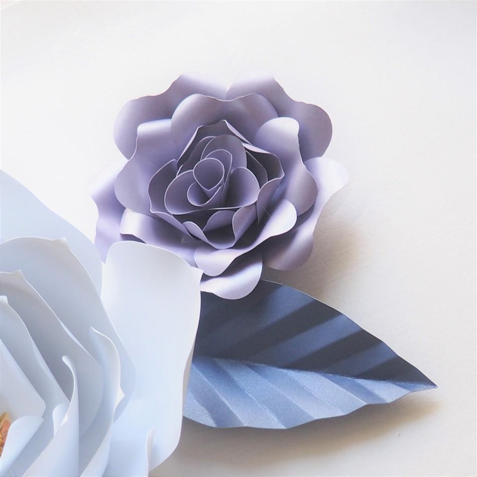 DIY Giant Paper Flowers Backdrop Artificial Handmade Mix Color Flower 6PCS + 6 Leaves Wedding & Party Deco Home Decoration