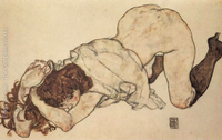 Nude Art Painting Kneeling Girl On Both Elbows Supported Egon Schiele Oil Painting Canvas High Quality