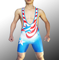 American Man Wrestling Singlet Wrestler Leotard Bodywear Gym Outfit One Piece Tights