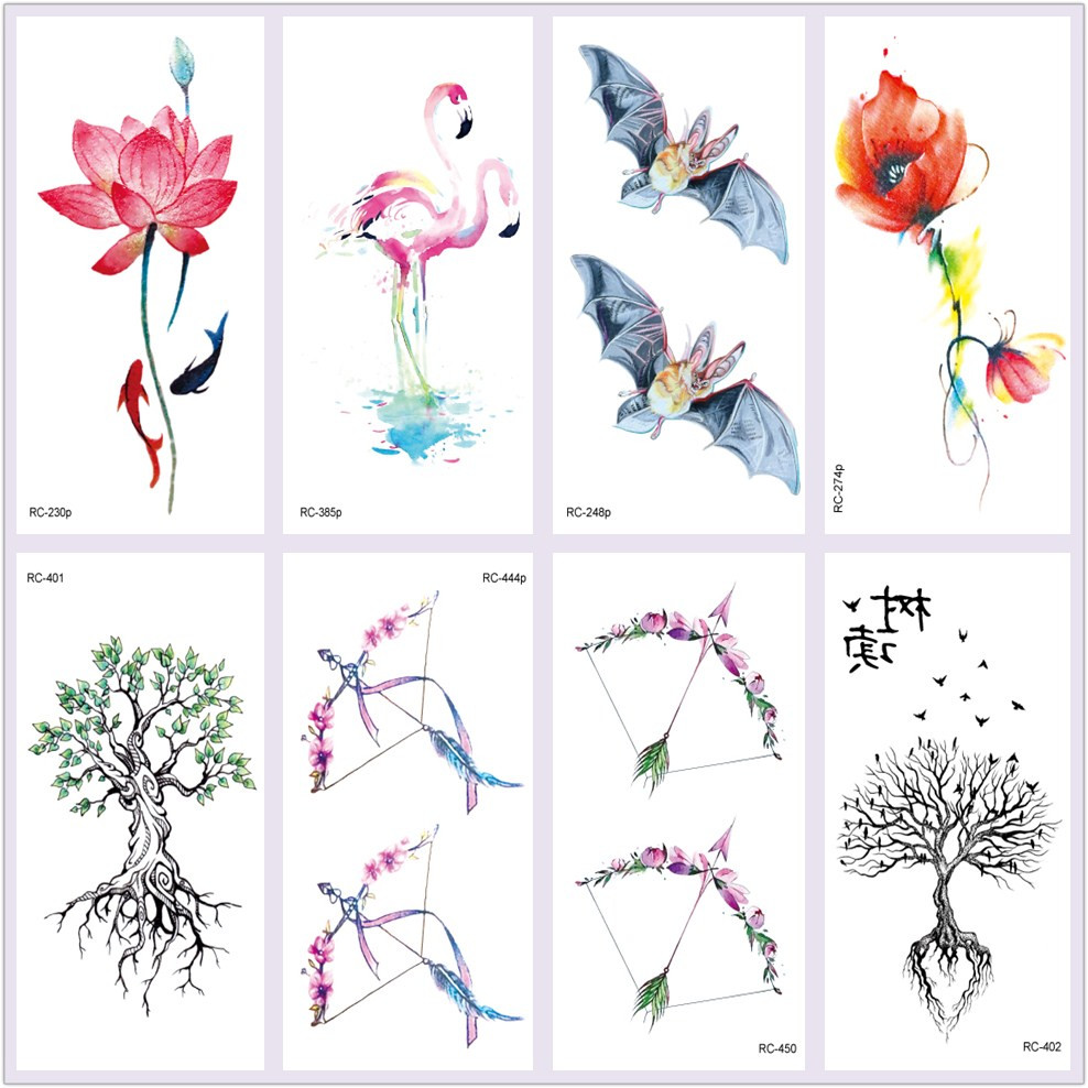 Rocooart Red Crane Tattoo Colorful Flower Arrow Taty Body Art Waterproof Temporary Tattoo Sticker Trees Tatuagem Bat Fake Tatoo