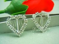 50 x 18mm small heart Rhinestone Buckle Invitation Ribbon Slider Wedding Supply