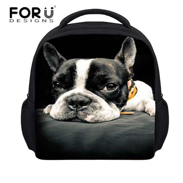 Forudesigns 2015 nueva llegada 3d animales de impresión pequeño perro lindo mochilas escolares para niños bolsas escuela infantil mochila infantil niños