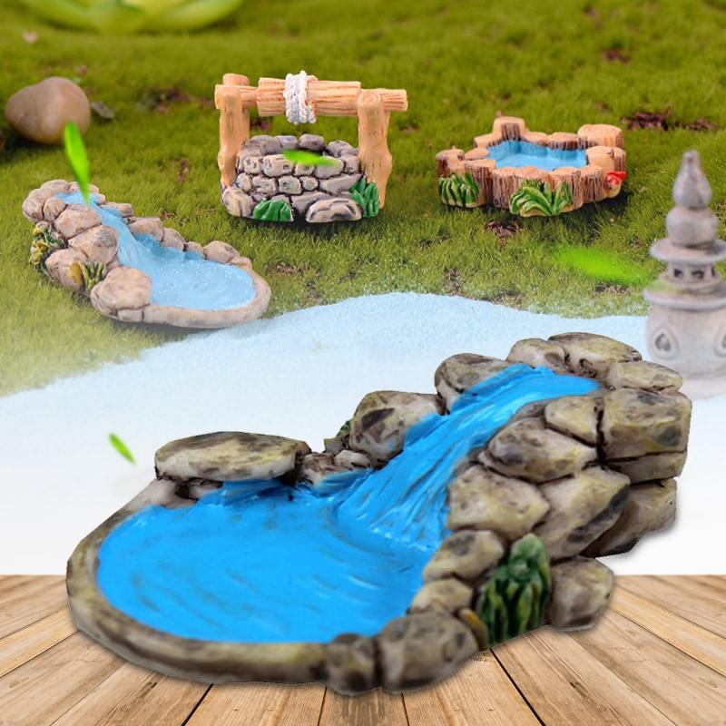Figurines Lifelike Beautiful Retro Resin Courtyard Mini Micro Landscape Garden Miniature Garden Crafts in Garden Statues Sculptures from Home Garden