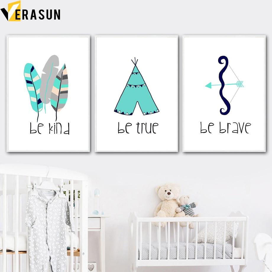 VERASUN 텐트 깃털 벽 아트 캔버스 회화 포스터 및 - 가정 장식
