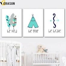 VERASUN Stánek Feather Wall Umělecké plátno Tapety a tapety Cartoon Canvas Decor Wall Obrázky Nordic Style Kids Decoration