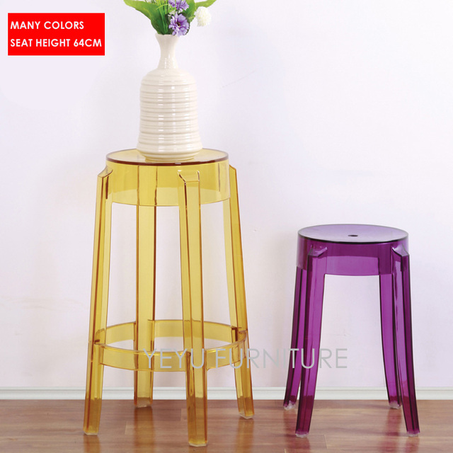 modern design transparent clear bar stool counter stool cafe loft living room plastic stool seat