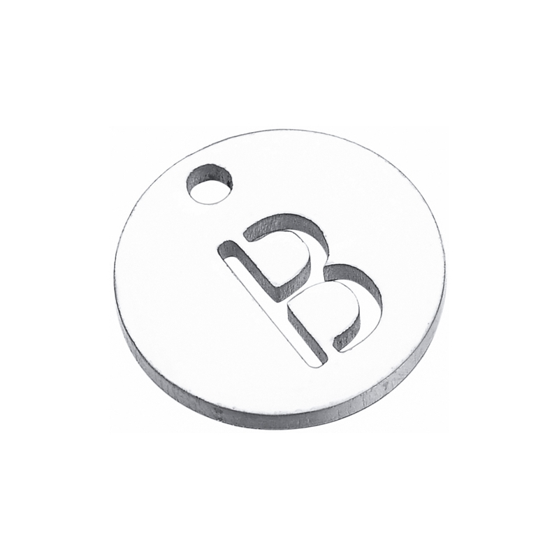 FUNIQUE 10PCs/Set Stainless Steel Hollow A-M Letter Alphabet Round Charm Pendant For DIY Making Customized Engrave Accessories