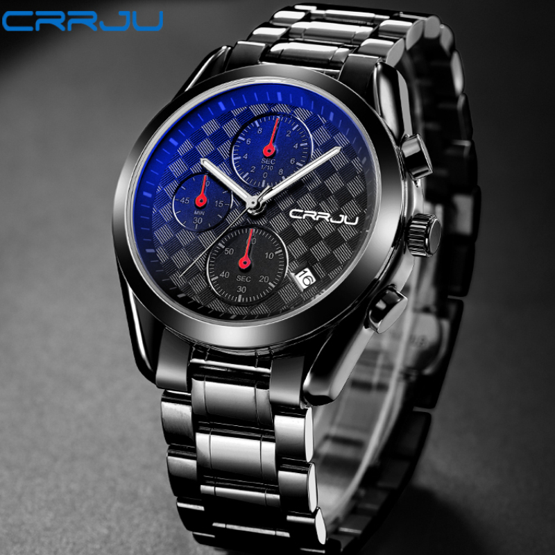CRRJU 2018 Men's Top Brand Fashion Business Analog Watches Male Quartz Casual Full Stainless Steel Clock Military Wrist Watch xinge top brand luxury leather strap military watches male sport clock business 2017 quartz men fashion wrist watches xg1080