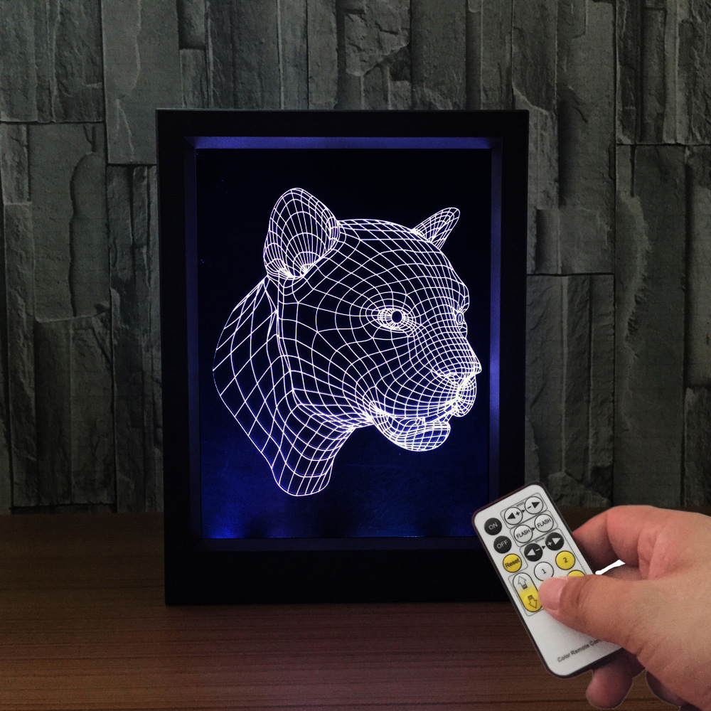 The Leopard 3D Lamp Photo Frame illusion lamp Remote Touch Switch 7 Color Change LED Desk lamp bedroom light living room ligh acrylic 3d headset frame lampremote touch switch bedroom bedside lamp 7 color change led desk lamp bedroom light as gift