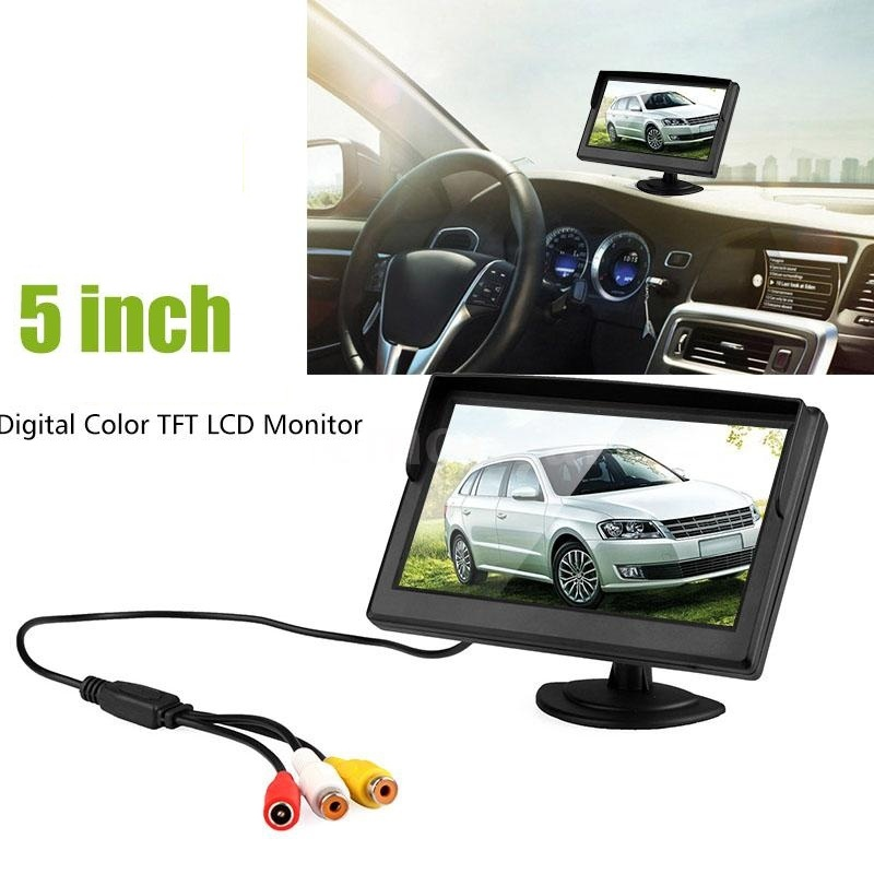 Car Monitor 5 Inch TFT LCD Screen Auto Parking System display Rear View Monitor Support VCD DVD GPS Camera with 2 Video Inputs