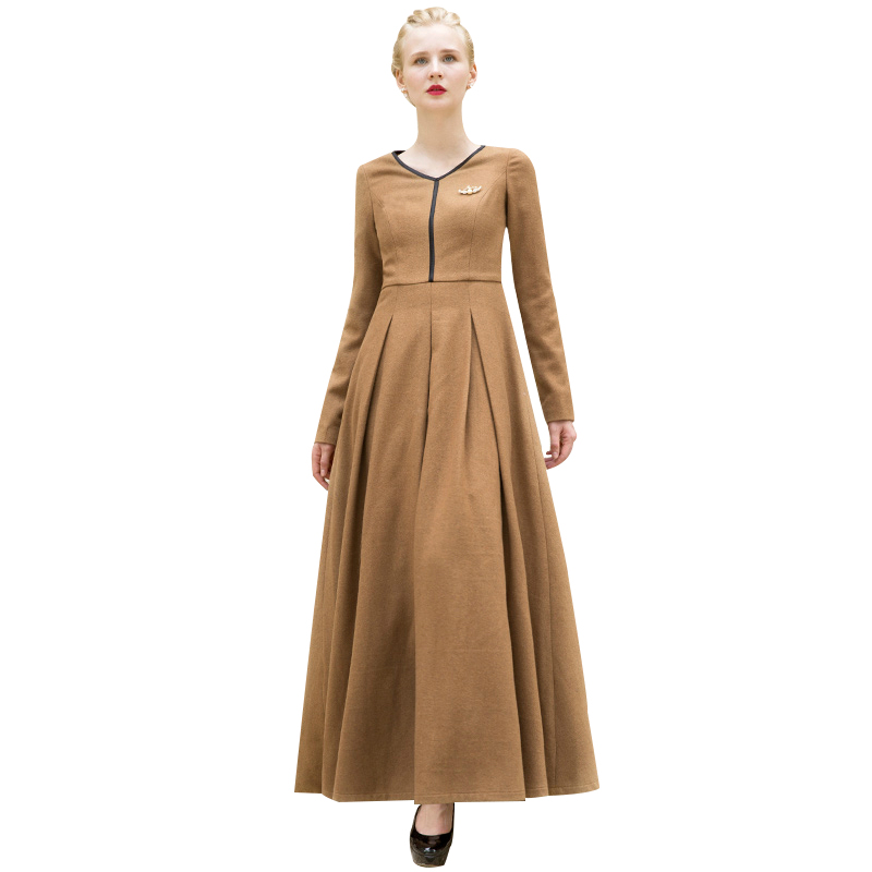 Maxi Ancient Greek Style Dress With Deep Neckline And: Luxury Winter Wool V Neck Long Dress OL British Style