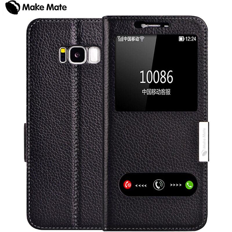 imágenes para Para samsung s8 más caso, lujo vista ventana genuino cubierta de cuero del caso del soporte para Samsung Galaxy S8 más
