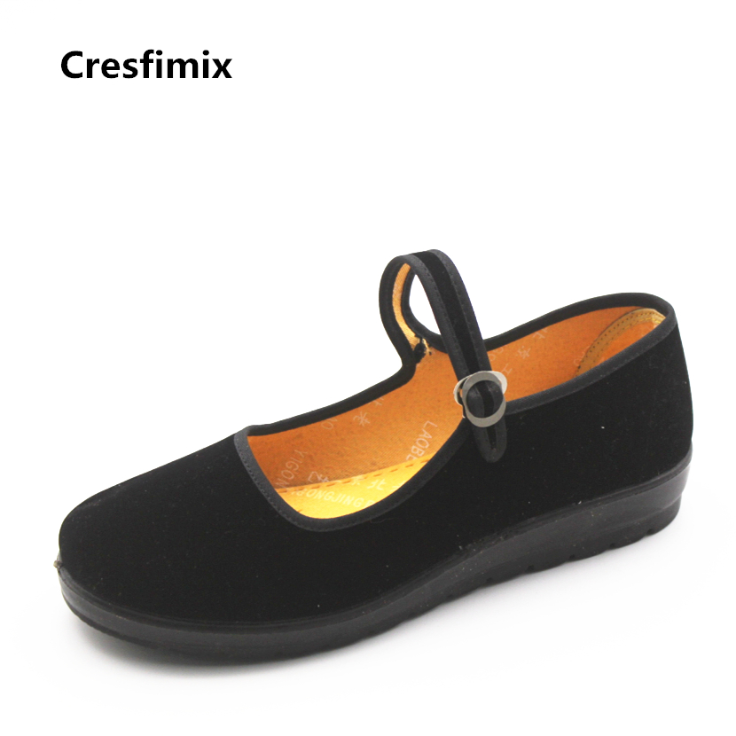 Cresfimix women casual spring & summer black flat shoes zapatos de mujer female cute retro style cloth shoes woman dance flats vintage women flats old beijing mary jane casual flower embroidered cloth soft canvas dance ballet shoes woman zapatos de mujer