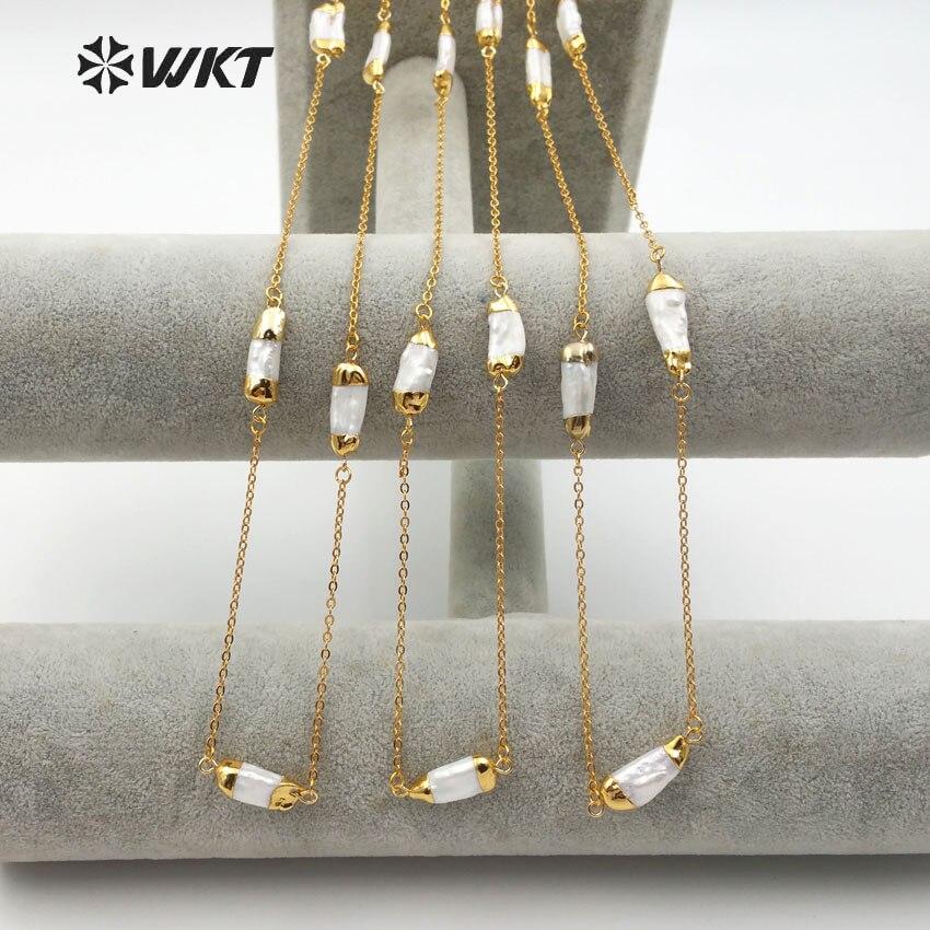 WT N1120 WKT Commercio All'ingrosso 10 pz/lotto Naturale dei monili della perla della catena di alta qualità con la perla punto collana di fascino elegante di stile della collana-in Catenine da Gioielli e accessori su  Gruppo 1