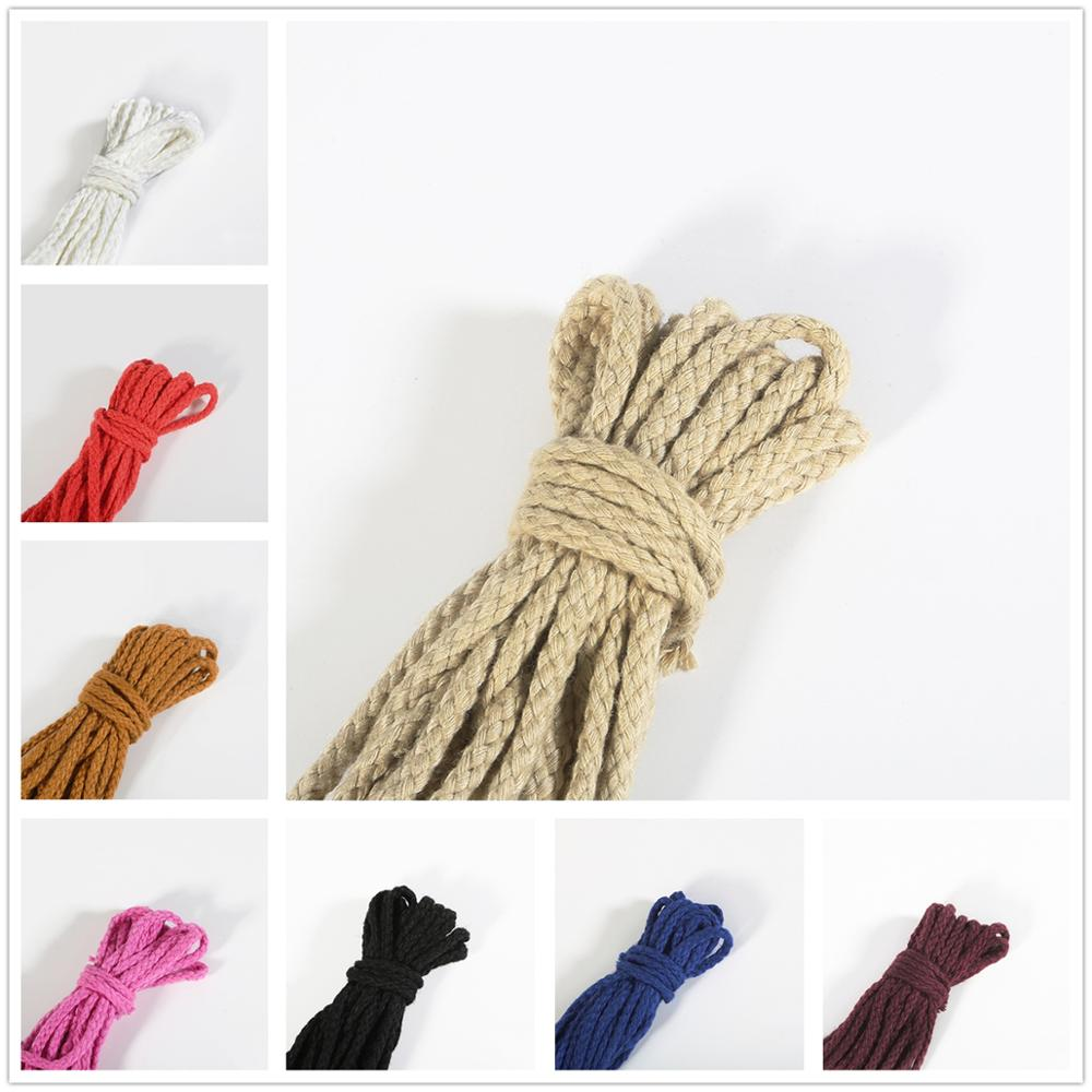 5yards 6mm Cotton Rope Craft Decorative Twisted Cord Rope For Handmade Decoration DIY Lanyard Thread Cord(China)