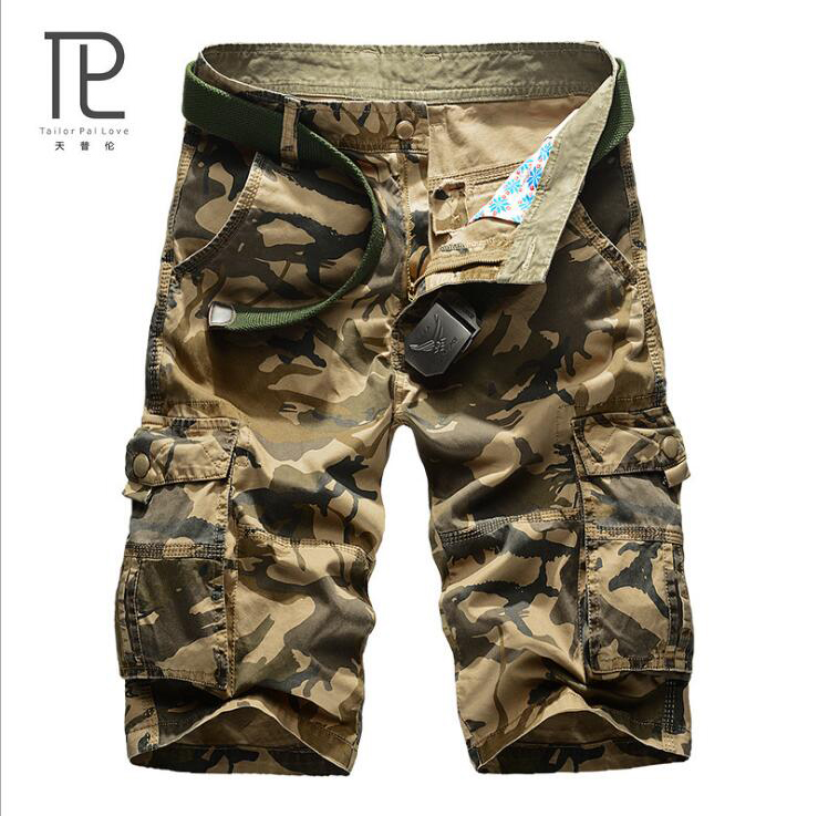 Male Shorts Loose Military Army Multi-Pocket Cotton Fashion Casual Men -B2
