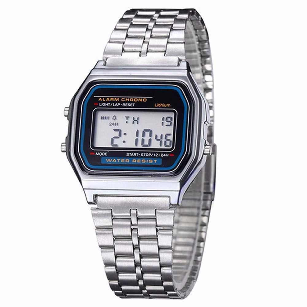 คลาสสิกผู้ชายผู้หญิงLEDดิจิตอลสแตนเลสนาฬิกาจับเวลานาฬิกาข้อมือSilveใหม่