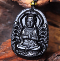 High Quality Natural Black Obsidian Carved Thousand Hands Of Guanyin Buddha Pendant Necklace For Women Men pendants Jade Jewelry