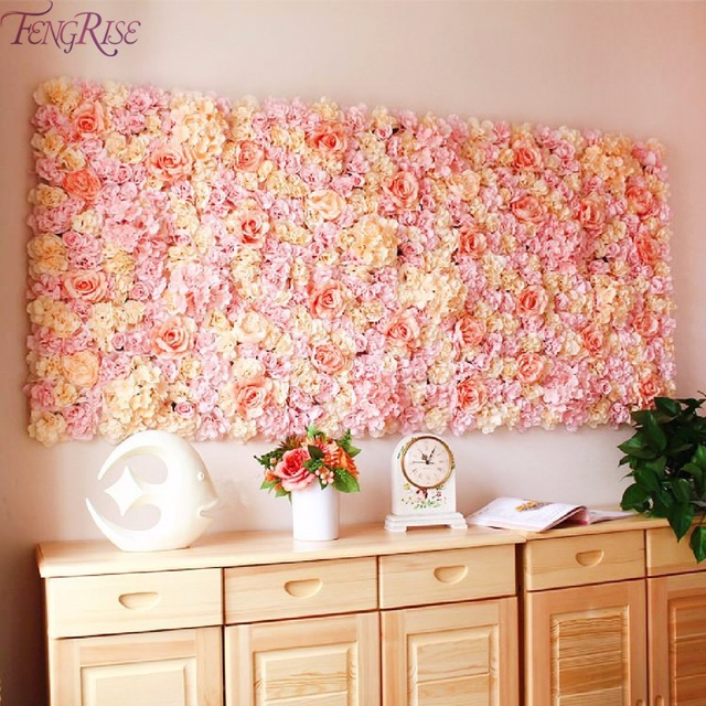 FENGRISE 40X60cm Artificial Silk Flower Wall Panel Champagne Flowers  Hydrangea Wedding Decoration Wedding Party Backdrop Decor