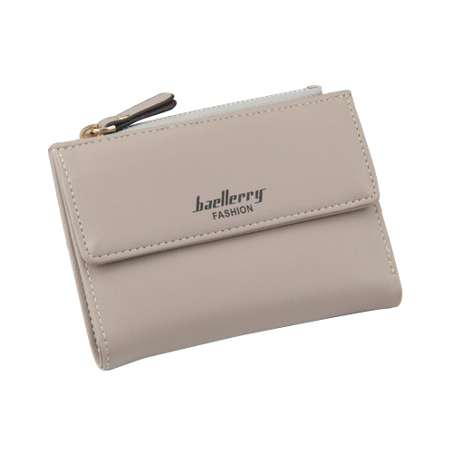 baellerry 1x gray PU leather ladies simple buckle zipper multi-card bit two fold money purse card bag size about:12.5x9.5x1.7cm
