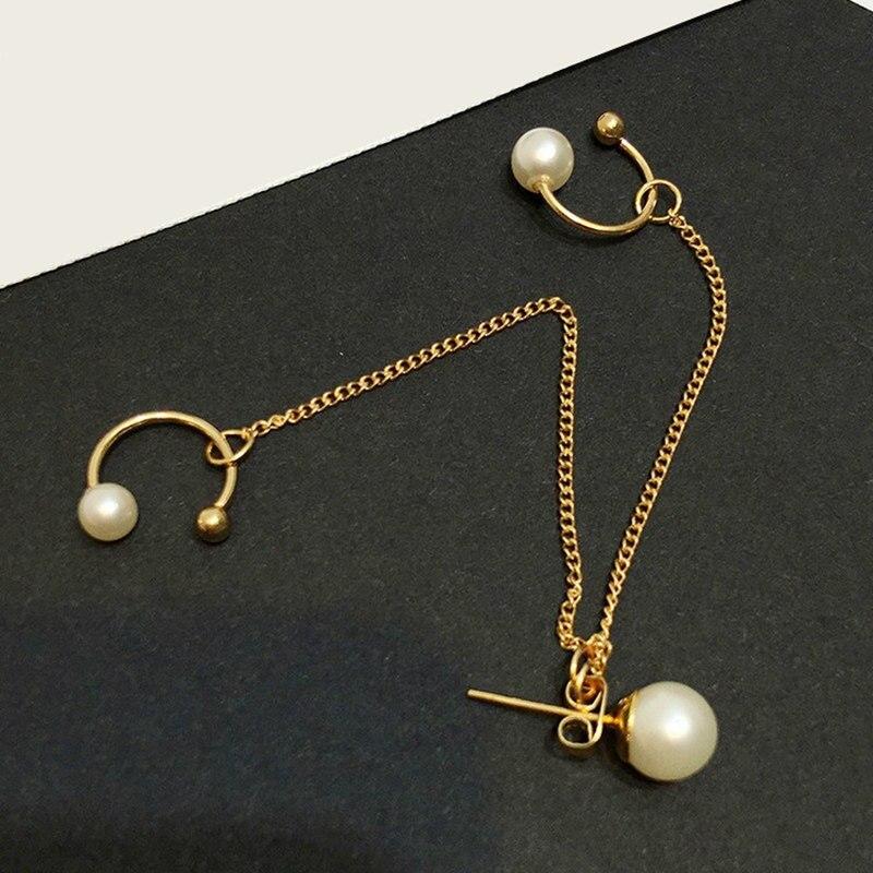 Korean Jewelry Trendy pearl Punk Rock Style Woman Gift Leaf Chain Tassel Earrings Metallic Jewelry Earrings Ear Clip Wholesale