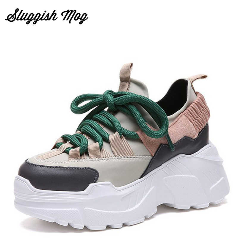 Sluggish Mog Women Chunky Dad Casual Sneakers Plus Size 35-40 Lace-up Shoes e56e9d563691
