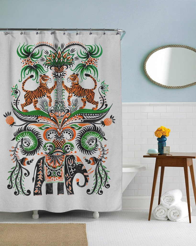 Sharp Shirter Tiger Elephant Folk Shower Curtain 71 X 74 Inches In Curtains From Home Garden On Aliexpress