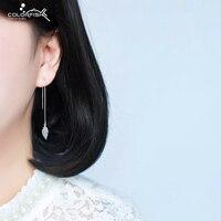 Solid 925 Sterling Silver Earrings For Women Simple Fashion Dangle Earring Female Cute Leaves Long Line