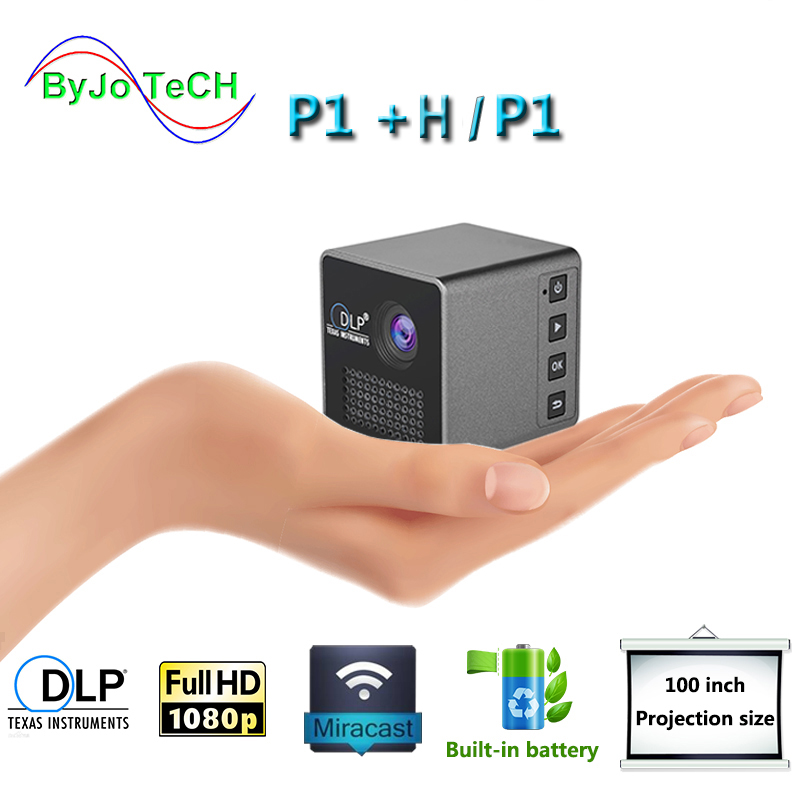 ByJoTeCH P1 Mobile Projector P1 P1+H Pocket Home Movie Projector Proyector Beamer Battery Mini DLP projector mini led projector Проектор